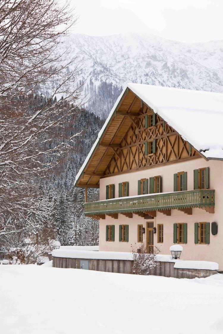 Bavarian house in snow winter